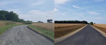 Vorher- Nachher-Aufnahme des alten Schotterwegs und er frisch sanierten Wegeverbindung zwischen Gochsheim und dem Schonunger Ortsteil Reichelshof (Foto St. Rottmann)